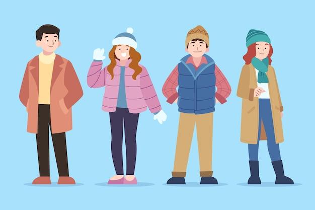 Handgetekende platte wintermensencollectie