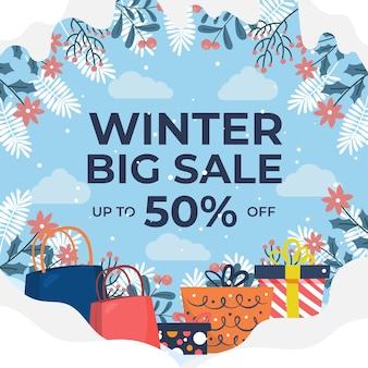 Handgetekende platte winteruitverkoopillustratie met geschenken