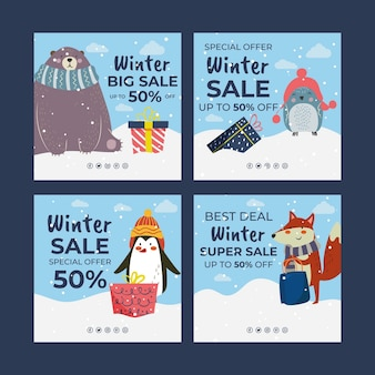 Handgetekende platte winterverkoop instagram posts collectie met winterdieren