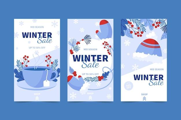 Handgetekende platte winterverkoop instagram verhalencollectie