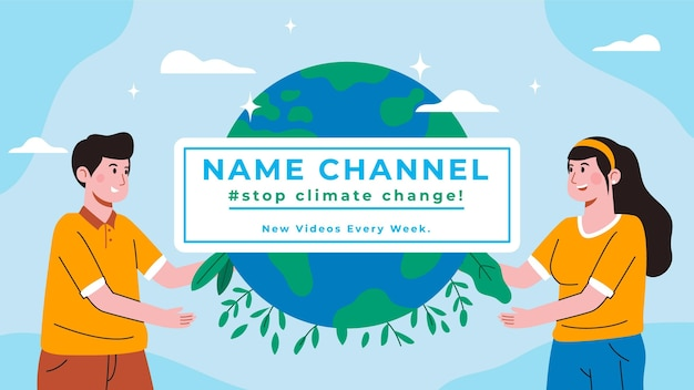 Handgetekende platte youtube-kanaalkunst voor klimaatverandering