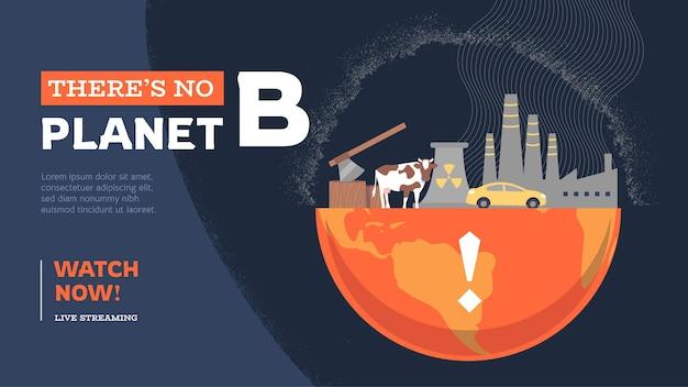 Handgetekende platte youtube-thumbnail van klimaatverandering