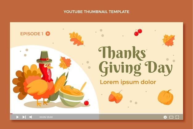Handgetekende platte youtube-thumbnail van thanksgiving