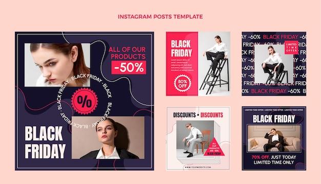 Handgetekende platte zwarte vrijdag instagram posts collectie