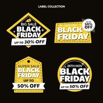 Handgetekende platte zwarte vrijdag labels collectie