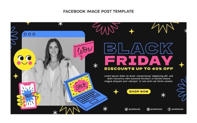 Handgetekende platte zwarte vrijdag social media postsjabloon