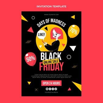 Handgetekende platte zwarte vrijdag uitnodigingssjabloon