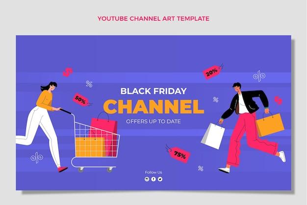 Handgetekende platte zwarte vrijdag youtube-kanaalkunst