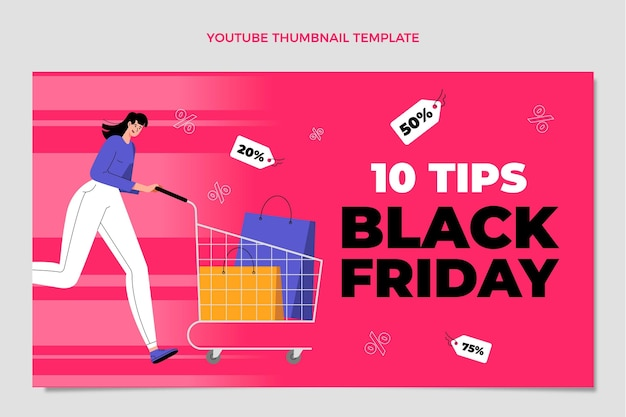 Handgetekende platte zwarte vrijdag youtube-thumbnail