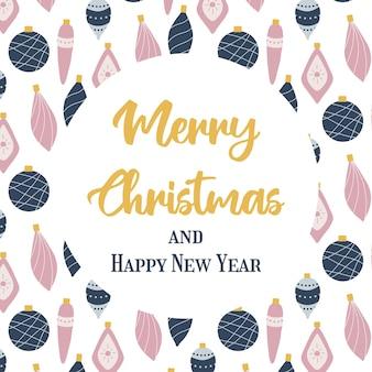 Handgetekende poster met nieuwjaarsspeelgoed kerstwenskaart met kerstspeelgoed