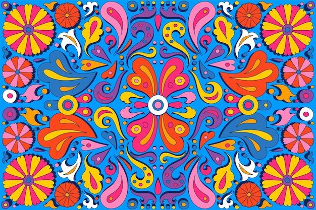Handgetekende psychedelische groovy achtergrond