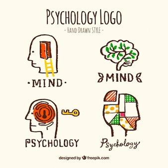 Handgetekende psychologie logos