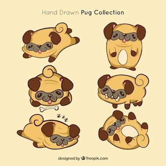 Handgetekende pugs met originele stijl