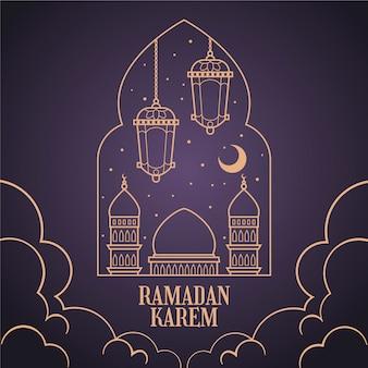 Handgetekende ramadan concept