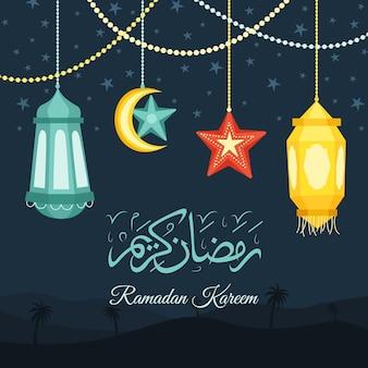 Handgetekende ramadan kareem illustratie