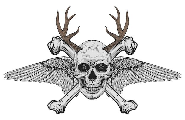 Handgetekende realistische zwart-witte menselijke schedel met vleugels en hertengewei