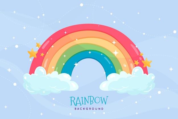 Handgetekende regenboog met wolken