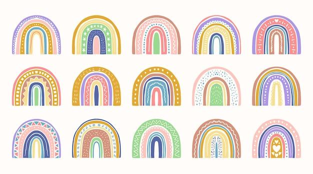 Handgetekende regenboog stickers collectie