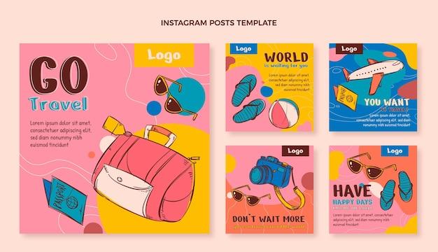Handgetekende reis instagram posts collectie