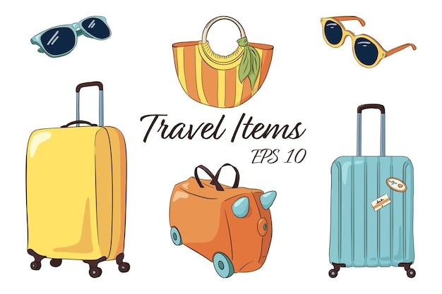 Handgetekende reisbagageset. gele en blauwe koffers, kinderkoffer, gestreepte damestas, zonnebril. vector toerisme attributen collectie voor logo, stickers, prints, labelontwerp. premium vector