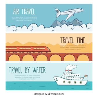 Handgetekende reisbanners