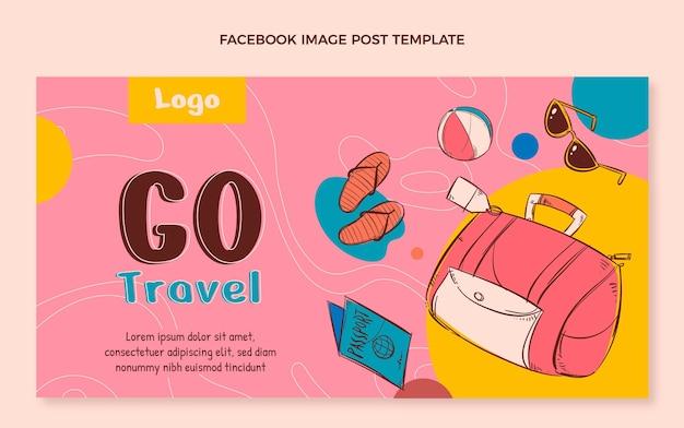 Handgetekende reispostsjabloon voor sociale media