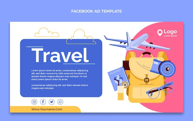 Handgetekende reissjabloon voor sociale media-promo