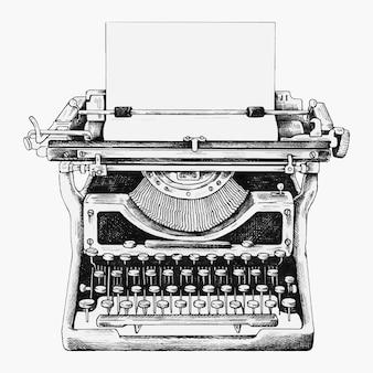 Handgetekende retro typemachine