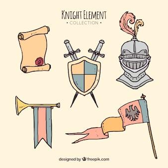 Handgetekende ridderelement collectie