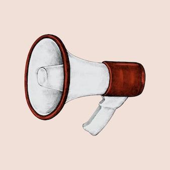 Handgetekende rode megafoon illustratie