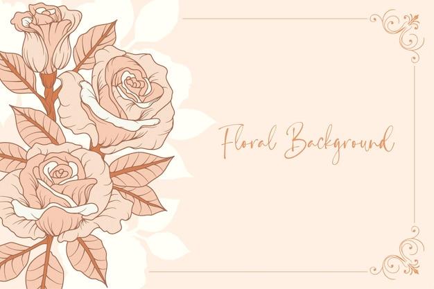 Handgetekende roos achtergrond