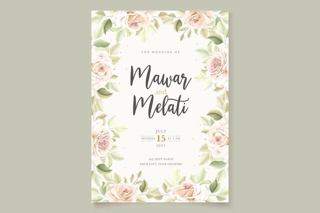 Handgetekende rozen uitnodigingskaartsjabloon