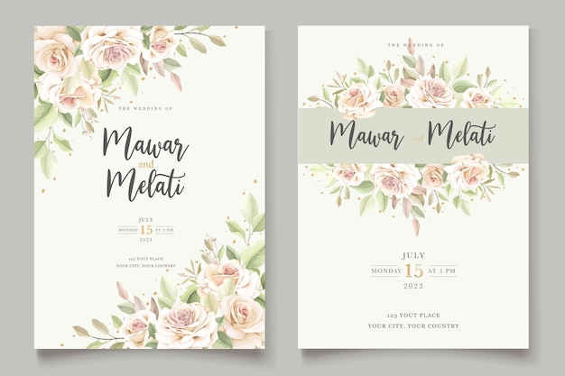 Handgetekende rozen uitnodigingskaartsjabloon Gratis Vector