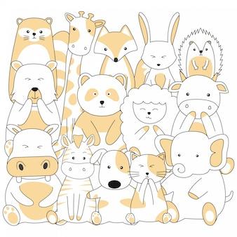 Handgetekende schattige dieren cartoon