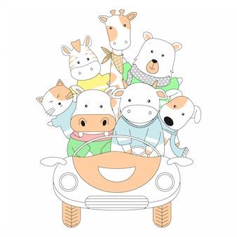 Handgetekende schattige dieren en auto cartoon
