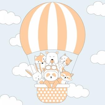 Handgetekende schattige dieren en luchtballon cartoon