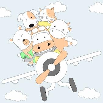 Handgetekende schattige dieren en vliegtuig cartoon