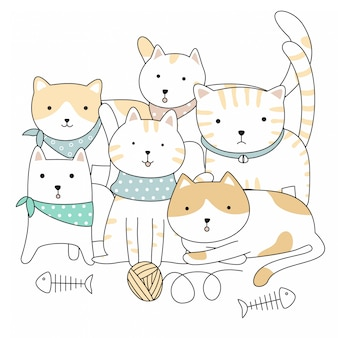 Handgetekende schattige dieren katten cartoon