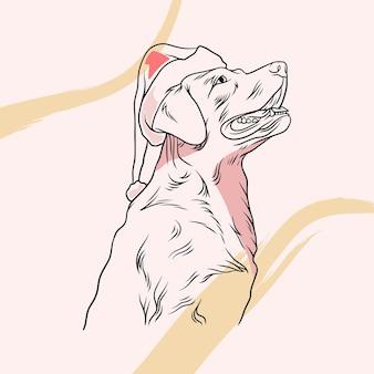 Handgetekende schattige honden met kerstmutsen in lijnkunststijl a