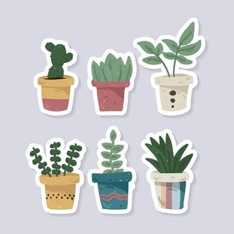 Handgetekende schattige kamerplanten collectie in potten