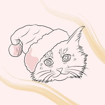 Handgetekende schattige kat met kerstmuts in lijnkunststijl