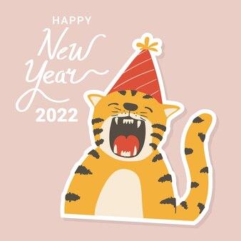 Handgetekende schattige tijger in feestmuts sticker