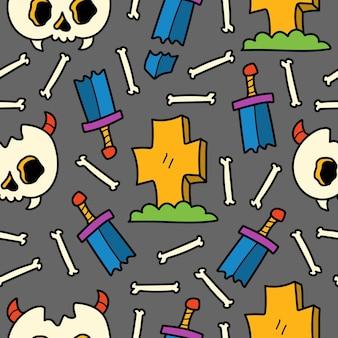 Handgetekende schedel doodle cartoon patroon ontwerp