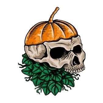 Handgetekende schedel pompoen illustratie