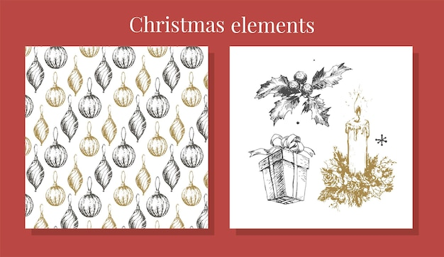 Handgetekende schets kerstpatroon nieuwjaarscadeau