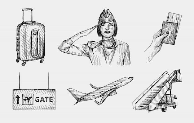 Handgetekende schets set luchthavenattributen. set inclusief stewardess groet, paspoort en ticket, vliegtuigladder; vliegtuig opstijgen, koffer