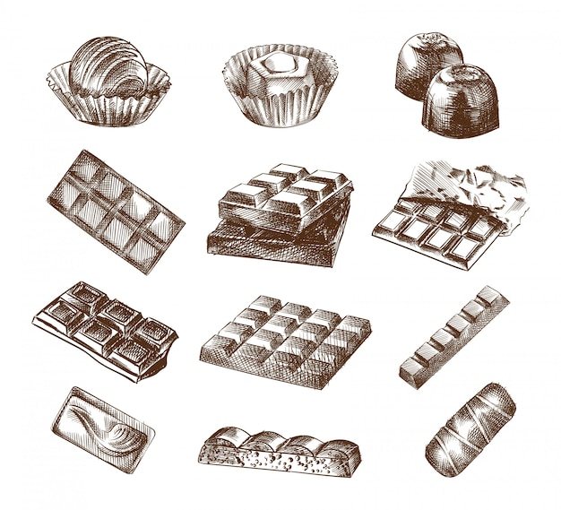 Handgetekende schets van chocolade en chocoladerepen. de set bestaat uit de hele chocoladereep, chocoladesnoepjes, chocoladesuikergoed, chocoladevierkant, chocolade in een wikkel.