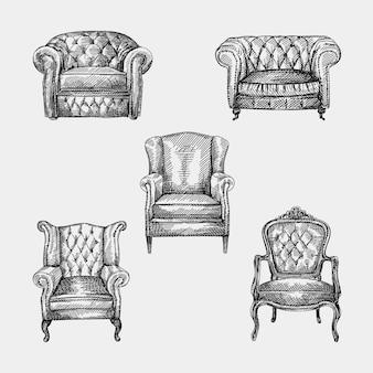 Handgetekende schets van collectie van 5 fauteuils uit de antieke periode. chesterfield leren fauteuil met doorgestikte lange rugleuning. fauteuil uit de antieke periode. vintage fauteuil. chesterfield-banken