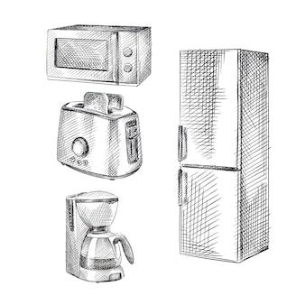 Handgetekende schets van elektrische keukenapparatuur. de set bevat een magnetron, broodrooster, koffiezetapparaat en koelkast.