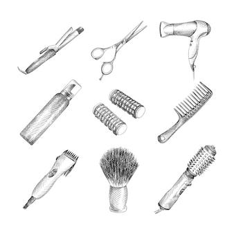 Handgetekende schets van kapper kit. de set bestaat uit een professionele schaar, haardroger, kam, mus, elektrisch scheerapparaat, krultang, krullen, een föhn met opzetborstel, scheerkwast